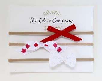 SALE The Maple - A collection of three handmade Canadian bows on nylon headbands or metal clips