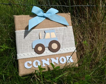 Personalised baby boy tractor hessian canvas