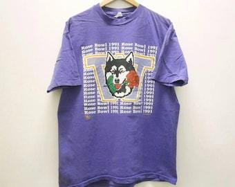 Rare! Vintage WASHINGTON HUSKIES Rose Bowl 1991 final t shirt size L