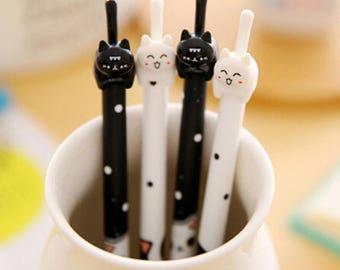 Gel pen black and white kitten