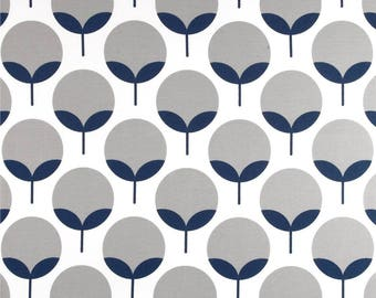 Fabric outside U.S. - large width - furniture - Decor - grey and blue flowers Scandinavian - 50 cm (x 140)