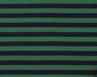 Japanese Cotton Jersey fabric - Kiyohara - reversible striped green & blue night - 50 cm