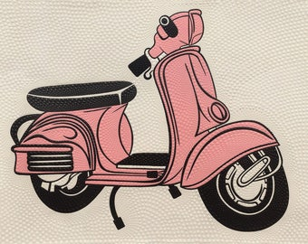 Pink Scooter, Indonesian Artwork, Mixed Media, Streatched Canvas Giclee of Traditional Oil on Canvas Balinese Painting; Ready to Hang!