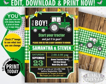 INSTANT DOWNLOAD / edit yourself now / Tractor / Baby shower / invitation / invite / fall / green / yellow / woodland / plaid / boy / BBT1