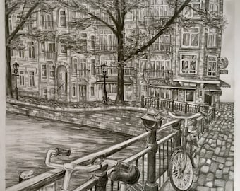 Staalstraat - Original A3 Graphite Drawing of Amsterdam