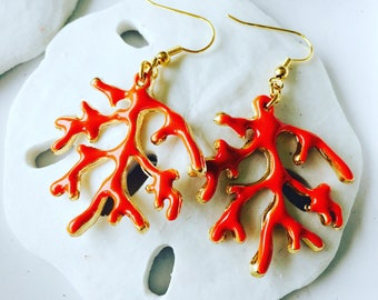 Gold coral earrings
