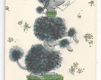 "1950s Adorable Birthday Card ""On A Pedestal"" Poodle"
