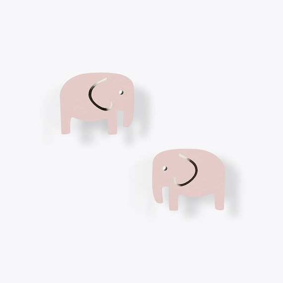 Light Pink Elephant Stud Earrings