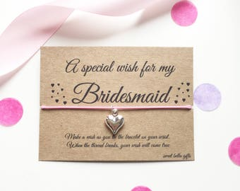 Bridesmaid, Maid of Honour, Flower girl wish bracelet
