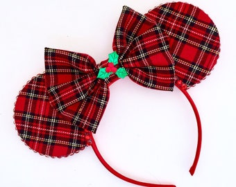 The Jolly Holiday - Tartan Christmas Inspired Mouse Ears Headband