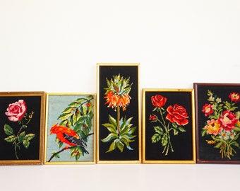 5 vintage seventies flower canvas