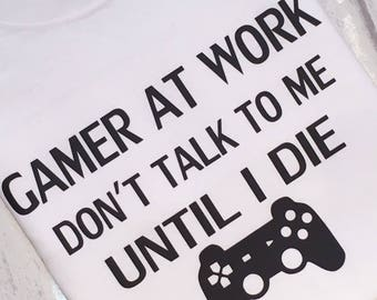 Gamer Tshirt, Mens Tees, Fathers Day, Gift For Him, Dad Gift, Brother Gift, Son Gift, Christmas, Gift For Dad, Gamer At Work, Tshirts, Men