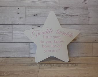 Engraved wooden star for Nursery display / New Baby Gift