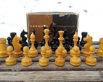 Old wooden tournament chess pieces set USSR // Big soviet chessmen figures