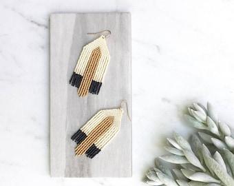 Gold Tassel Fringe Earrings, Art Deco Earrings, Beaded Tassel Jewelry