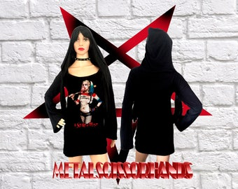 Harley Quinn Mini Hooded Dress Long Bell flared Sleeves Handmade Gothic Reaper Witch