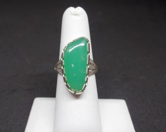 Chrysoprase Ring, Sterling Silver Chrysoprase, Silver 925 Ring, Green Gemstone, One of a Kind, 915, Silver Chrysoprase Ring, Richlo, 1371