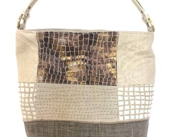"""SO """"Mosaic"""", lins, anse removable leather bucket bag"""