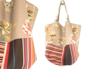 """Small tote bag reversible two-sided """"Fang"""", fabric flower tapissier and bayadere, removable leather unique handles"""