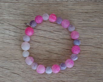 """Gemstone Stretch Bracelet """"Candy Frost"""" made with Agate"""