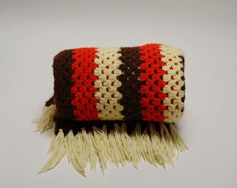 1970s Afghan ⎮ Vintage Crocheted Afghan ⎮ Brown Orange Yellow Granny Square Blanket