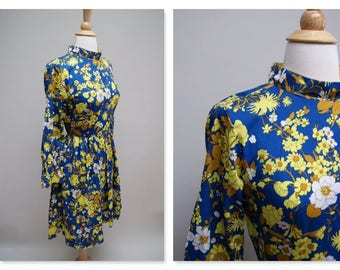1970s Mod Floral Dress ⎮ Vintage 70s Blue Yellow Dress ⎮ Long Sleeve Midi Dress