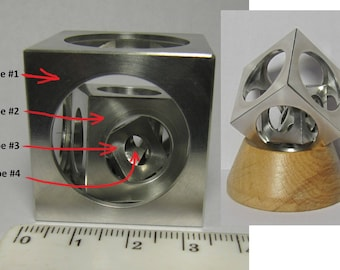 4 Four Aluminum cubes. Cubes in a cube 35mm. Turners cube. Machinist s cube. Wooden base