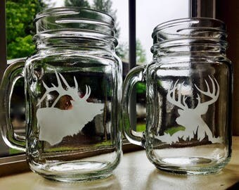 Deer and Elk mason jars set of two