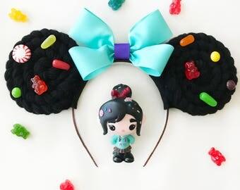Vanellope von Schweetz Minnie Mouse Ears | Mouse Ears Headband | Mickey Ears | Mouse Ears | Wreck-It Ralph | Fix-It Felix | Sugar Rush Ears