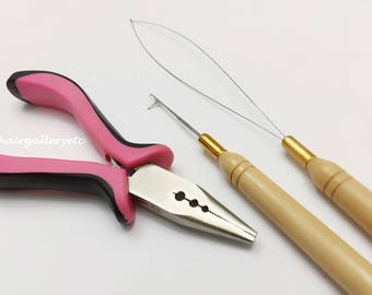 Feather Hair Extension Pink Pliers Tool KIT for Micro Hair Beads Micro Hair rings Loop Hook 3 Hole USA