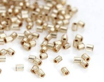 10 grams of Miyuki Delica beads Champagne Hexagon silver lined, 2mm (140 PCs/gram approx.)