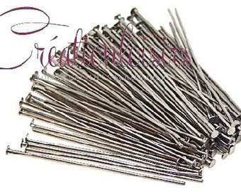 50 nails / pins with flat head - long. 45 mm - matte silver color