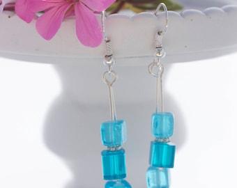 Silver drop earrings; Cube earrings; Glass bead earrings; Turquoise earrings; Long earrings