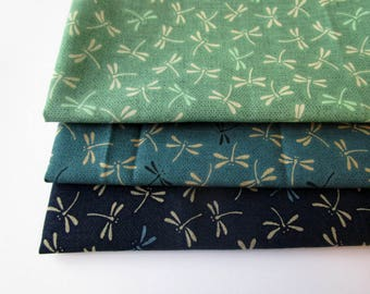 Batch of 3 coupons 45 x 35 cm - dragonflies - green and blue shades