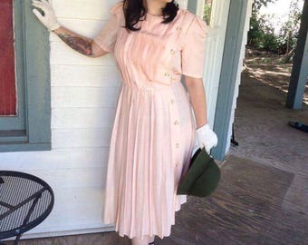 Vintage Richard Warren Pink Silk Dress
