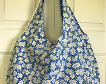Handmade reversible tote bag featuring the ever-popular Daisy- roomy, reversible and machine-washable