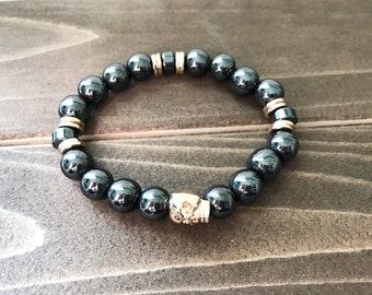 Gold Skull Hematite Stretch Bracelet~ 14K Gold Filled Skull~ Hematite Beaded  Bracelet~ Mens Skull Bracelet~ Womens Skull Beaded Bracelet