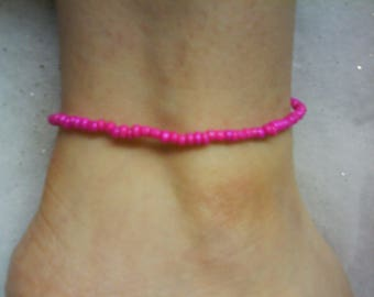 LoliRosa Hot Pink Glass Seed Bead Stretch Anklet Summer Festivasls Beach