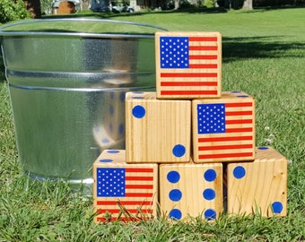 Hand Painted Yard Dice, 4th Of July, Patriotic, Yard Game, Yardzee, Wood Dice