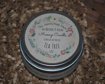 Tea Tree Massage Candle 6oz Vegan All Natural Multipurpose Candle