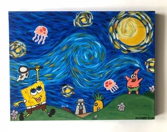 Spongebob Squarepant's Starry Night/ Spongebob Painting/ Spongebob and Patrick/ Spongebob Jellyfishing/ Small Acrylic Painting/ Wall Decor