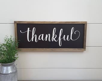 Thankful Sign - Thankful Wood Sign - Wood Thankful Sign - Wood Framed Sign - Framed Wood Sign - Framed Thankful Sign - Thankful Wood