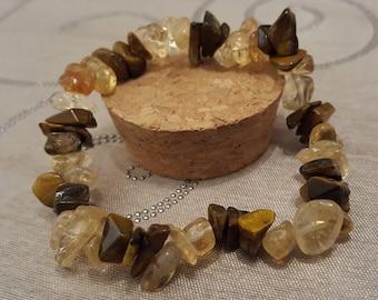 Citrine & Tigers Eye Gemstone Bracelet