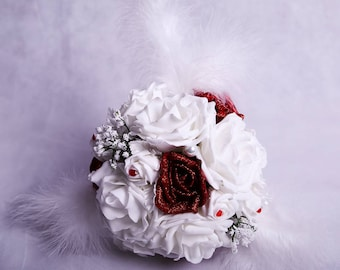 Red and White Glitter Rose Wedding Bouquet