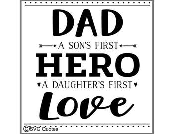 SVG Cutting File DAD:Hero Love DXF For Cricut Explore, Silhouette & More.Instant Download. Personal/Commercial Use. Vinyl Stickers