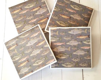 Fishing Coasters – Gifts for Him – Drink Coasters – Ceramic Tile Coasters – Ceramic Coasters - Man Cave Decor – Fishing Decor - Tile Coaster