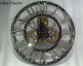 The ' Decadent'  3D crystalised wall clock hand encrusted with over 2,600 luxury Preciosa TM crystals