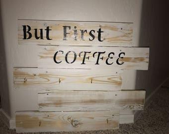 pallet wood coffee mug rack