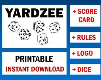YARDZEE printable + svg, yardzee score card, yardzee rules, yardzee file, yardzee score sheet, yardzee download, yardzee decal, scorecard