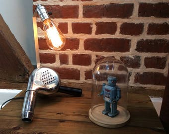 Lamp made with an old upcycled Calor Chrome hairdryer